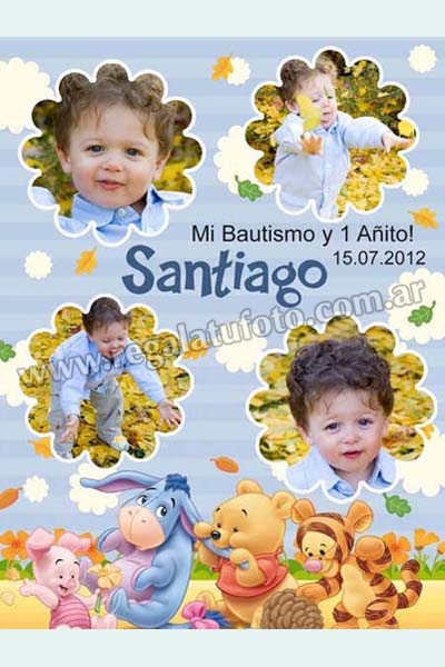 Bautismo Winnie Pooh Bebe Ba0594 Regalá Tu Foto